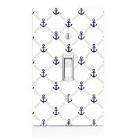 Light Switch Plate Cover Blue Anchor Nautical Wall Plate Bathroom Outlet