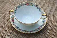 Vintage Limoges C Ahrenfeldt Depose Floral Bouillon Cup Saucer  Double Handled