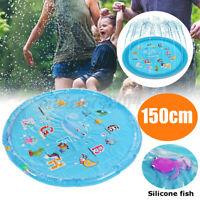150cm Inflatable Play Mat Water Toys Kids Splash Sprinkler Pad Outdoor Garde