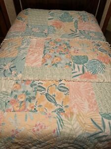 Pottery Barn Kids Island Vibes Patchwork Surf TWIN quilt Beach PINK