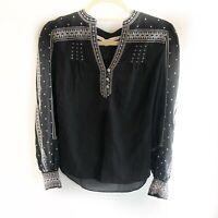 Veronica Beard Carta Black Embroidered Boho Women's Blouse Size 0 New