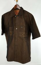 Men's Dark Brown Gold Webs Jeans Large Heavy Western Shirt Cowboy Short Sleeve