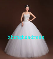 White/Ivory Satin Tulle Strapless A-Line Wedding Dress Bridal Gown Uk Size 6--24
