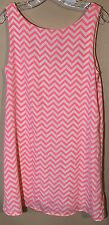 Coveted Clothing Womens Dress Medium Short Chevron Hot Pink Sleeveless
