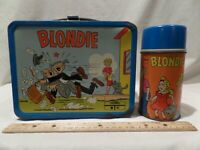 """RARE VINTAGE 1969 METAL """"BLONDE"""" LUNCH BOX WITH MATCHING THERMOS BY KING SEELEY"""