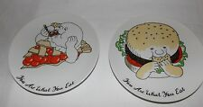 """You Are What You Eat Two Collectors 7 1/4"""" Plates By Fitz And Floyd"""