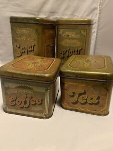 Vintage Set of 4 CHEINCO Tin Canister Set 70's