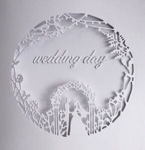 "Beautiful Wedding Cut Out Aperture 6""x6"" White Cards + Envelopes 3 Sets"