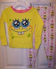 Spongebob Yellow Pink 2 Piece :Long Pajama PJ Set Girls Size 4 NIP  #36