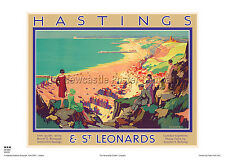 Hastings Sussex rétro vintage vacances Railway travel poster advertising art