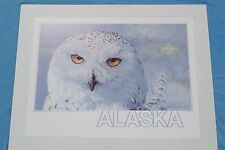 JON VAN ZYLE Alaska Poster Series Great White Owl Signed Art Bird Ltd Ed Print