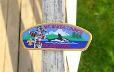 Mount Baker Council Washington Boy Scout Embroidered Patch Totem Pole Orca Whale