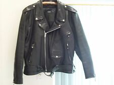 Men's Black Leather Motorcycle Jacket w/Thinsulate Zip In Lining 52