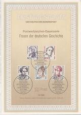 TIMBRE FDC ALLEMAGNE  BERLIN  OBL ERSTTAGSBLATT SERIE FEMMES HISTOIRE  1988