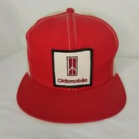 Vintage Oldsmobile Hat Patch Mesh Snapback Cap Red White Trucker Made In USA