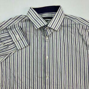 Perry Ellis Portfolio Dress Shirt Mens 16.5/Large Multicolor Classic Fit Striped