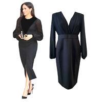 Women's Designer Meghan Little Black Sheer Balloon Sleeve Midi Dress 12 AU STOCK