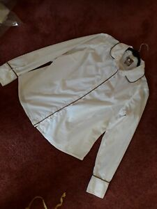 Womens stretchy fitted cotton mix shirt blouse Next size White Fawn trim 16