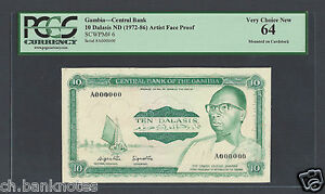 Gambia 10 Dalasis ND 1972-86 Artist Essay Face Proof Rare Uncirculated