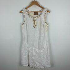 Elisa Cavaletti Womens Linen Dress Small White Sleeveless Round Neck Lagenlook