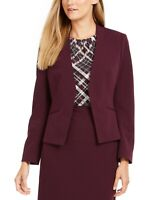 Calvin Klein Women's Petite Asymmetrical Open-Front Soft Crepe Blazer Purple