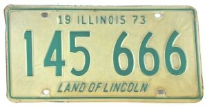Vintage Illinois 1973 License Plate 666 Garage Man Cave Collector Wall Decor
