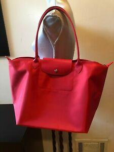 NEW Longchamp  Red Nylon Leather Le Pliage Shoulder  Bag Tote Shopper