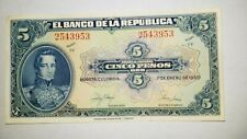 JANUARY 10,1950 COLOMBIA 5 CINCO PESOS ORO SERIES FF BANKNOTE LOOKS UNCIRCULATED