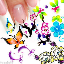 11 Sets Flower Nail Art Decal Water Slide Transfer Temporary Tattoo Stickers W40