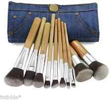 10 Pc Vegan Eco Makeup Brushes with Bamboo Handle & Blue Denim Jeans Bag Case