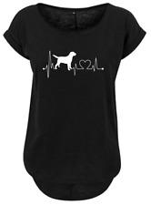 Long slub T shirt Gr.S. Herzschlag Hund ,Damen Ladies Oberteil schwarz