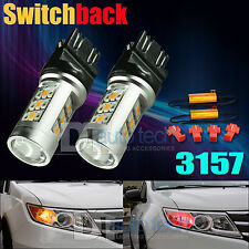 2X High Power 3157 Red Amber Switchback LED Turn Signal Light Bulbs+Resistor