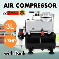 1/5HP Airbrush Air Compressor With 3L Air Tank Hobby Air Brush Stencils Nail