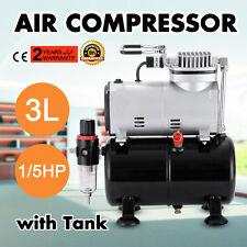 1/5HP Airbrush Air Compressor With 3L Air Tank Hobby Air Brush Stencils Nail