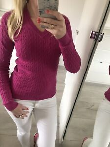 Tommy Hilfiger XS Xsmall 6 8 Jumper Blouse Sweater Top Cable Knit Pink Hot Sexy