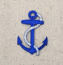 Iron-On Applique Embroidered Patch Small Blue Anchor White Rope Ship Boat
