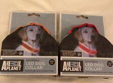 Animal Planet: Adj. Dog Collar w/LED Flash & Glow Settings, Red, Orange, S, M