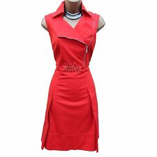 KAREN MILLEN Red Biker Party Sporty Tuxedo Trench Cocktail Shirt Dress 12 UK