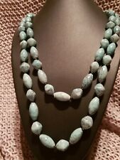 Long Beaded Necklace with Stone Look Beads and Clasp