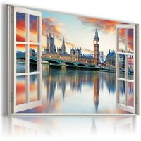 ENGLAND LONDON BIG BEN 3D Window View Canvas Wall Art Picture Large W458 MATAGA