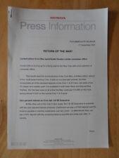 HONDA CIVIC MAX LIMITED EDITION orig 2001 UK Mkt Press Release - Brochure