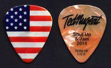 Ted Nugent US Flag Signature Orange Pearl Guitar Pick - 2014 Shut Up & Jam Tour