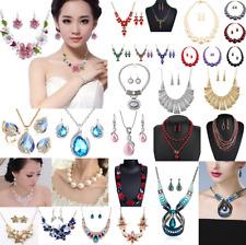 Fashion Women Crystal Bib Pendant Choker Chunky Statement Chain Necklace Earring