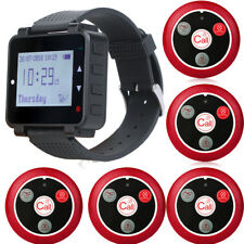 Retekess Server Watch Pager System 500CH LCD Screen Receiver+5*Call Button 4 Key