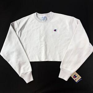 NWT Champion Reverse Weave Crop Sweatshirt Womens XL White C Logo Embroidered