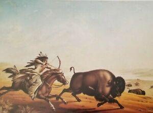 ASSINIBOIN HUNTING ON HORSEBACK (Indian & Buffalo) by Peter Rindisbacher Print