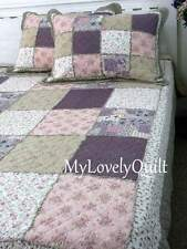 KING Purple Plum Country Roses Ruffled Patchwork BEDSPREAD Quilt 3pc Set