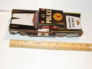 "Vintage 1950s TOYMASTER Japan Metal Friction Car HIGHWAY PATROL POLICE 9"" Long"