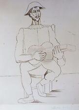 PABLO PICASSO Arlequin moustachu a la guitare signed Marina Picasso Estate Coll.