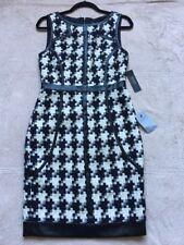 Laundry Women's Sleeveless Knit Dress, Size 4, Black & White Houndstooth,NEW!